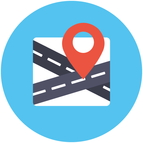 Icon of two roads crossing and a direction pin to show that your dentist in Seattle is conveniently located