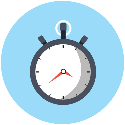 Icon of a stopwatch on a light blue background to show that this dentist in Seattle offers same-day and emergency dentistry