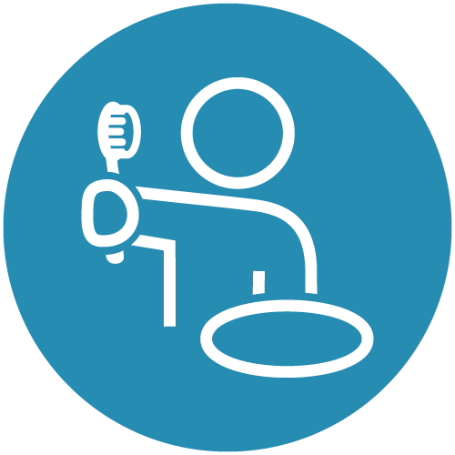 White line icon of a patient holding a tooth brush in a blue circle to show that dental implants in Seattle can help you regain your confidence
