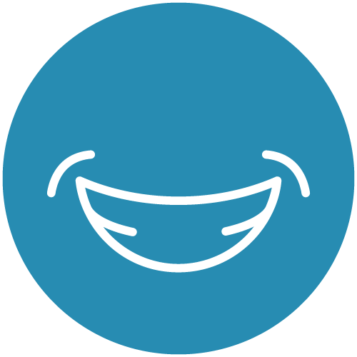 White line icon of a smile on a blue circle to show that our dental implants in Seattle seamlessly and naturally restore your smile.