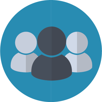 Icon image of three patients inside a blue circle