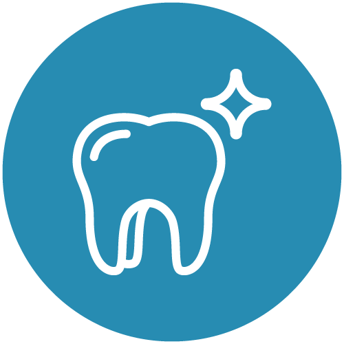White line icon of a shinny tooth with a blue circle on the back