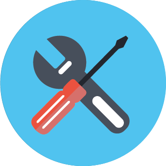 Icon image of tools in a blue circle