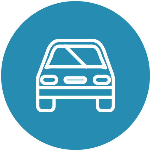 White line icon of the front of a car