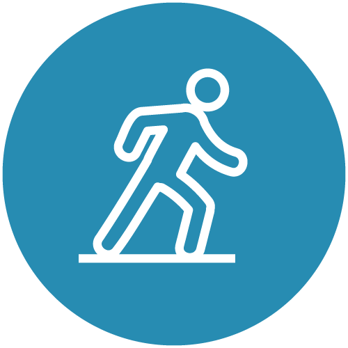 White line icon of a person walking