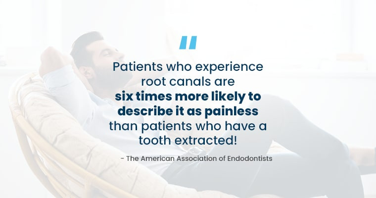 "A person relaxing on a chair with text, ""Patients who experience root canals are six times more likely to describe it as painless than patients who have a tooth extracted!"" - The American Association of Enodontists"""
